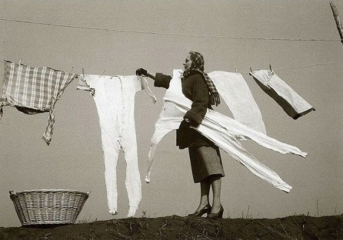 Woman with frozen, Long Johns, 1950